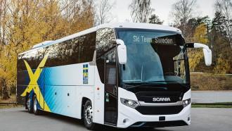 Bus Scania Tim Ski Swedia, Punya Fitur Solar Panel