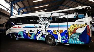 Keren! Livery Baru Bus Sumber Alam, Hadirkan Kesenian Tradisional