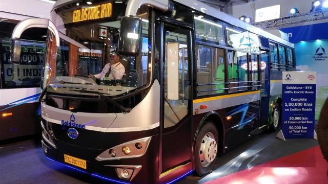 Bus Listrik Goldstone BYD Menarik Perhatian di Auto Expo 2018