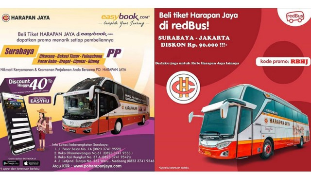 Perang Diskon PO Harapan Jaya Di Aplikasi Pembelian Tiket Online